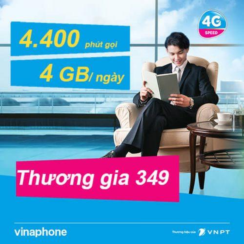 Gói Cước Thương Gia 349 VinaPhone Trả Sau Data 4GB/Ngày
