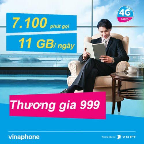 Gói Cước Thương Gia 999 VinaPhone Trả Sau Data 11GB/Ngày